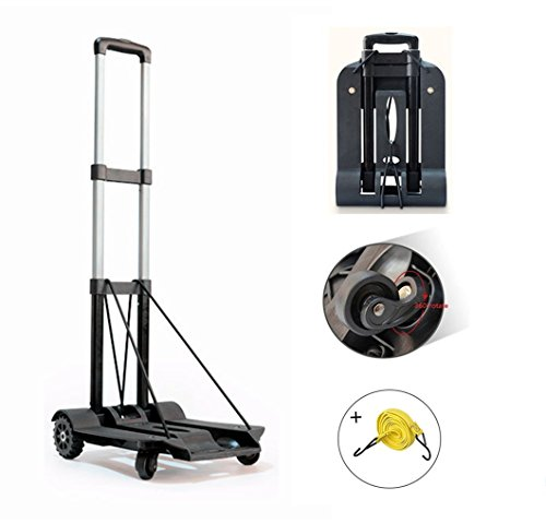 Folding Hand Truck, 75 Kg/165 lbs Heavy Duty Solid Construction Utility Cart Compact and Lightweight for Luggage, Personal, Travel, Auto, Moving and Office Use - Portable Fold Up Dolly(4 wheel-roate)