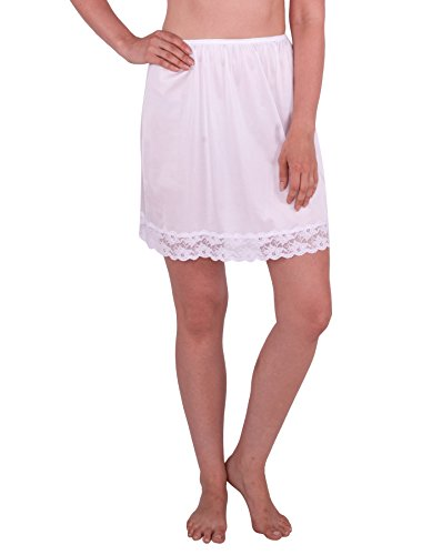 Under Moments Classic Half Slip with Lace Details 18″ (White-XL)