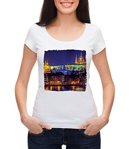 Prague Beautiful City Women's MEGAN Crew Neck T-shirt Bianco Small