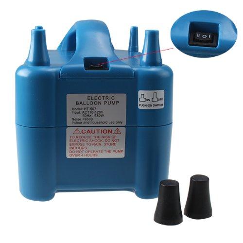 Agptek® Two Nozzle Super High Power Electric Balloon Inflator Pump Portable Blue Air Blower