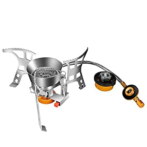 SIXWELLY キャンプストーブ OD缶/CB缶用 ガスアダプター付き シングルバーナー