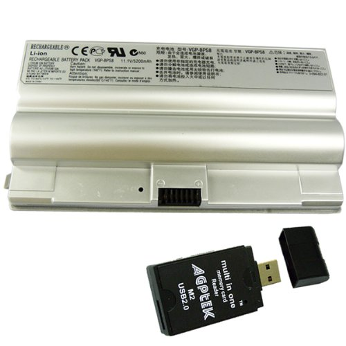 6cells 5200mAh Silver SONY VAIO VGN-FZ series Replacement Battery, PN: VGP-BPL8, VGP-BPS8, VGP-BPL8A, VGP-BPS8A, VGP-BPS8B