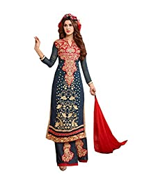Amyra Women's Georgette Dress Material (AC837-04, Blue)