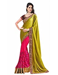 Suchi Fashion Pink And Green Jacquard And Georgette Heavy Embroidery Work Stylish Saree
