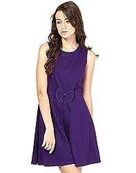 Besiva Women's Classic Bow A-Line Dress (BDP112_Purple_Medium)
