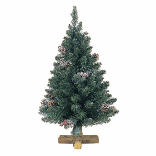 Kaemingk 683510 Frosted Sherwood Mini Baum mit Holzfuß, Soft Nadel PVC, innen, Höhe 45 cm thumbnail