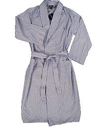 Polo by Ralph Lauren Logo 100% Cotton Men\'s Blue Stripe Robe L/XL