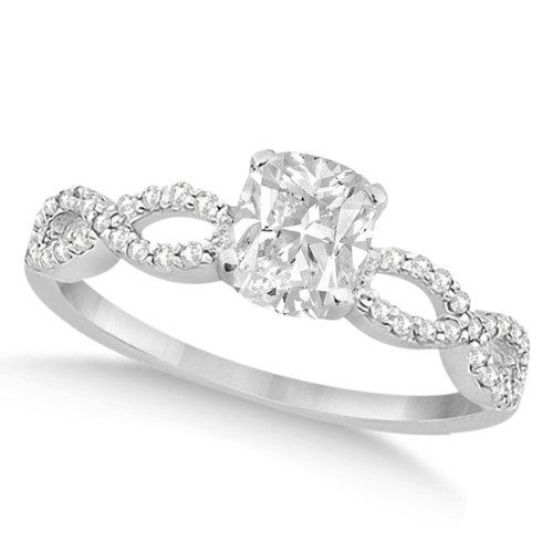 Twisted Infinity Cushion Cut Diamond Engagement Ring 14K White Gold (0.50Ct)
