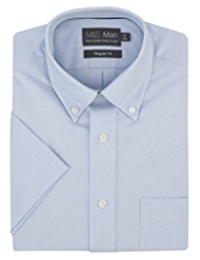 Pure Cotton Quick Iron Short Sleeve Oxford Shirt
