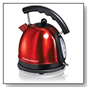 Hamilton Beach 7-1/5-Cup Stainless Steel Electric Kettle, Red