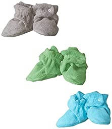 Zutano Unisex-Baby Newborn Cozie Fleece 3 Piece Baby Bootie Gift Set, Gray/Apple/Pool, 18 Months