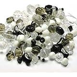 Assortiment perles de verre blanc-noir-Crystal