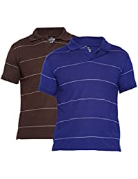 Duke Stardust Techno Slim Fit Polo Collar Half Sleeves Striped Cotton Blend Mens T-shirt -Pack Of 2