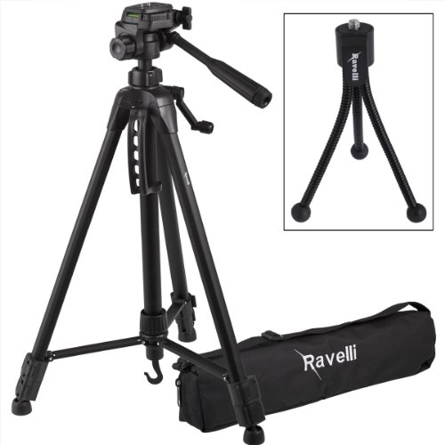 Ravelli APLT4 61 Inch Light Weight Aluminum Tripod With Bag and Free Mini Wire Leg Tripod