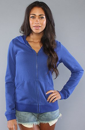RVCA The RVCA Fleece Colors Hoody in Dark Cobalt hood ,Sweatshirts for Women