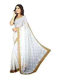 Bano Tradelink Women's Chiffon Saree (White) - B00WI6MRKU