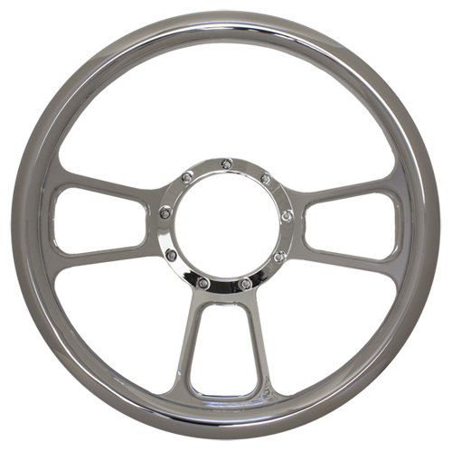 """14"""" Chrome Billet Aluminum Steering Wheel - 9 Hole"""
