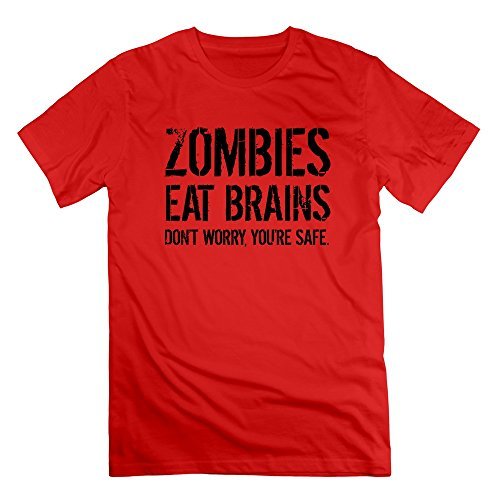 Men's Zombies Eat Brains Dont Worry U Are Safe Red Funny Tshirt
