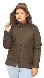 Romano Classy Brown Hooded Warm Winter Jacket for Women