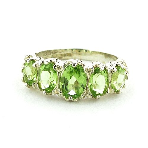 Sterling Silver Ladies 3.00ct Peridot Ring - Size L - Finger Sizes L to Z Available