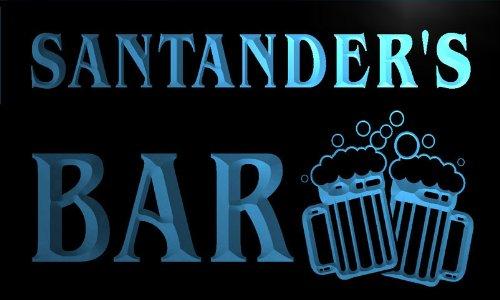 w025920-b-santander-name-home-bar-pub-beer-mugs-cheers-neon-light-sign