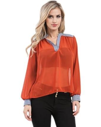G2 Chic Women's Denim Trim Draped Shirt(TOP-CAS,ORN-L)