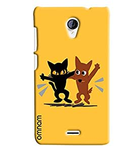 Omnam Two Animal Enjoying Printed Designer Back Cover Case For Micromax unite 2 A106