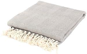 Nine Space ARHTXB06 Viscose Derived Bamboo Herringbone Throw Blanket-Orange/Cream