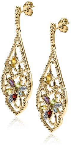 18k Gold Plated Sterling Silver Multi-Gemstone Dangle Earrings