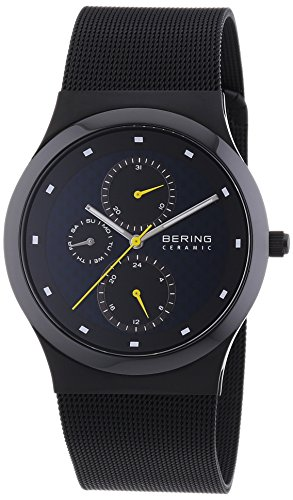 Bering 32139-228 Men's Ceramic Black IP Milanese Steel Mesh Bracelet Day Date Watch