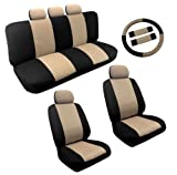 Dual Color Tan/Black Two Tone Car Seat Covers Steering Wheel Set 14pc Racing For Nissan Sentra