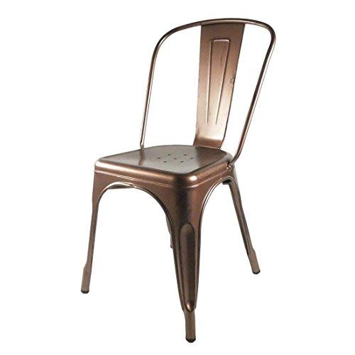 Favorit - Sedia in metallo colore rame, stile Tolix, 45 x 45 x 85 cm.