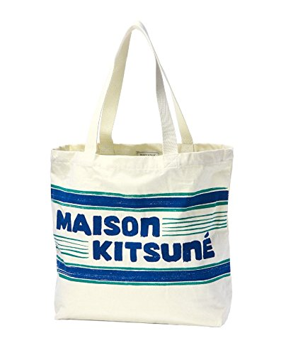(メゾン キツネ) MAISON KITSUNE トートバッグ ECRU NAVY ホワイト/ブルー LETTER STRIPES レター ストライプスSS16U837 ECNA [並行輸入品]