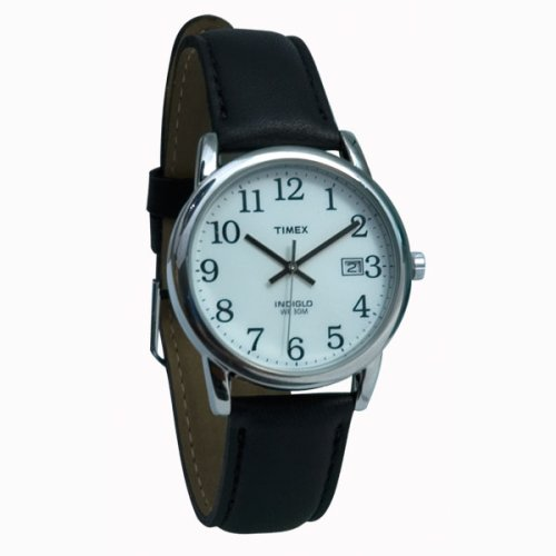 Timex Indiglo Watch Mens Chrome with Leather Band