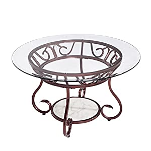 Joveco red bronze metal frame round coffee for Metal frame glass coffee table