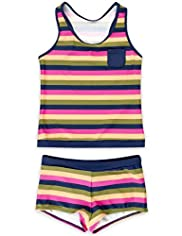 Round Neck Multi-Striped Tankini