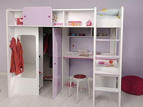 Hochbett Kinderbett 206x178x118cm weiss lila fliederfarben, Schrank Schreibtisch Janine 1 kaufen