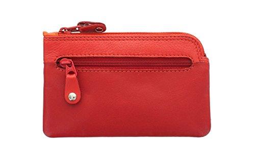Portamonete in Pelle con Portachiavi GENO Collezione Rainbow Visconti RB69 Rosso Multi