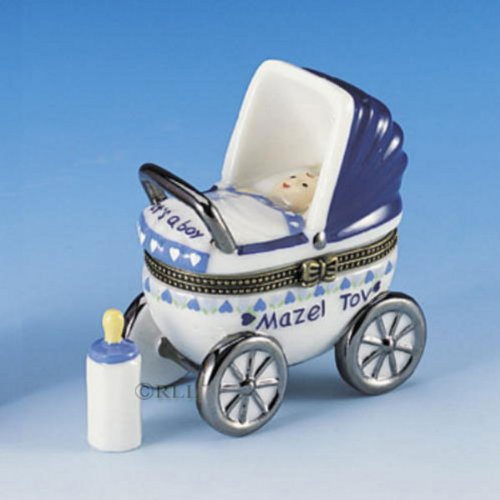 Mazel Tov Baby Boy Hinged Box Carriage with Baby Bottle Treasure