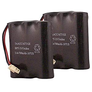 Hitech - 2 Replacement Cordless Phone Batteries for Bell South 36247, 625, 711, B650, GH9402, GH9702, HCB702, M42001, and Many More