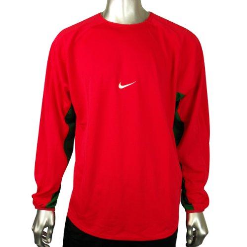 Mens Nike Dry Dri FIT Red Football Running Shirt Training Top Gym Tee Size L