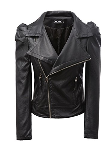 Mooncolour Womens Puff Sleeve Faux Leather Jacket Moto Blazer