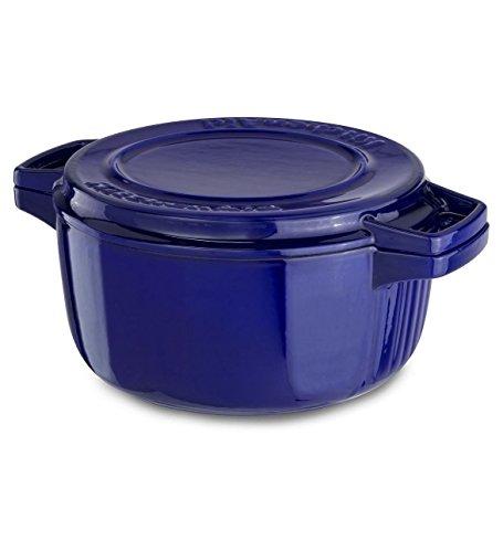 Kitchenaid Cast Iron Professional Cookware Kcpi40crfu Fiesta Blue 4-qt Casserole