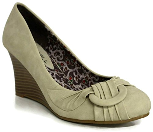 Kiss & Tell Women's Onora-04 Pleated D-Ring Stacked Low Heel Wedges