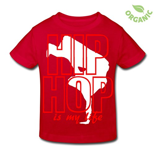 Spreadshirt Kinder hip hop is my life T-Shirt, rot, 134/140 9-10 Jahre