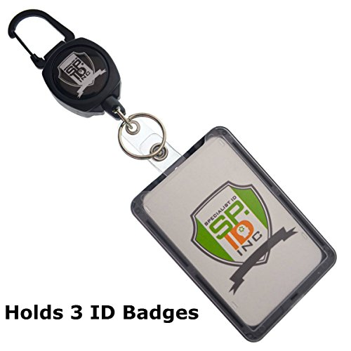 Super Heavy Duty Carabiner Badge and Key Reel with THREE Card ID Badge Holder by Specialist ID (Sold Individually, Black) (Super Strong Split Rings compare prices)