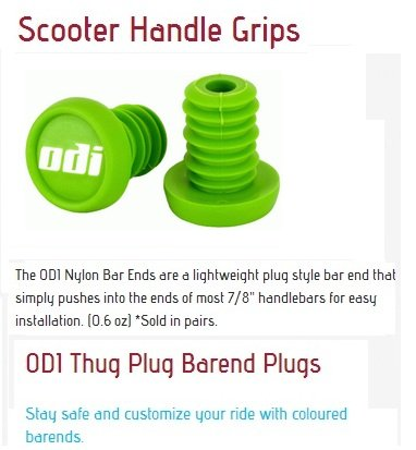 Odi Bar End Plugs For Scooters and BMX Bikes 1 Pair (Lime Green) (Scooter Handlebar Plugs compare prices)