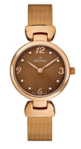 Grovana reloj infantil de cuarzo con para mujer marrón esfera analógica y acero inoxidable bañado en oro rosa pulsera 4485,1166