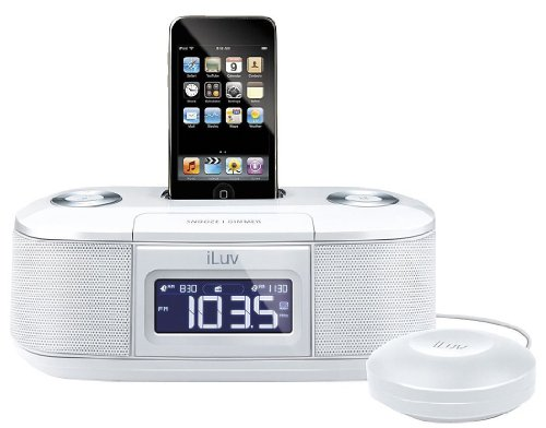 iLuv iMM153BLK Dual Alarm Clock with Bed Shaker for your iPod (White)