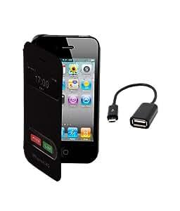 KolorEdge Flip Cover Plus Otg For Apple iphone4 -black